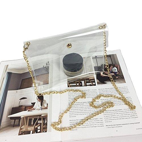 (Mengsha's Transparent Fashionable Crossbody PVC Vinyl Clutch Purse Bag Gold Chain)