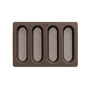 Lekue 4 Cavity Micro Perforated Mini Baguette Baking Pan, Brown