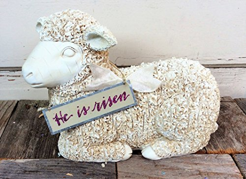 AGD Easter Decor - He Is Risen Craved Lamb of God Resin Display