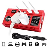 Mesllin 120W DC 12V to AC 110V Car Power Inverter,4 USB Ports and 3 AC Outlets Converter with LED Flashlight,1 Car Cigarette Lighter Sockets for Tablets, Laptop, Game Console
