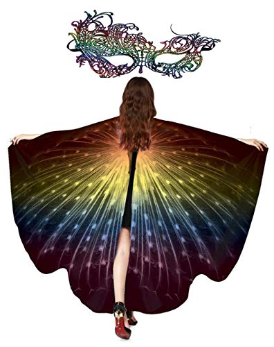 Women Butterfly Wings Cape Shawl Costume with Lace Mask for Ladies Halloween Dress Up Party (Peacock Rainbow)