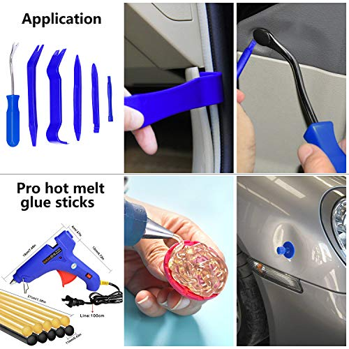 YOOHE 59 PCS Auto Body Paintless Dent Repair Tool Kits – Gold Dent Lifter Dent Puller Kit with LED Light Line Board for Car Dent Removal and Hail Damage by Yoohe (Image #4)