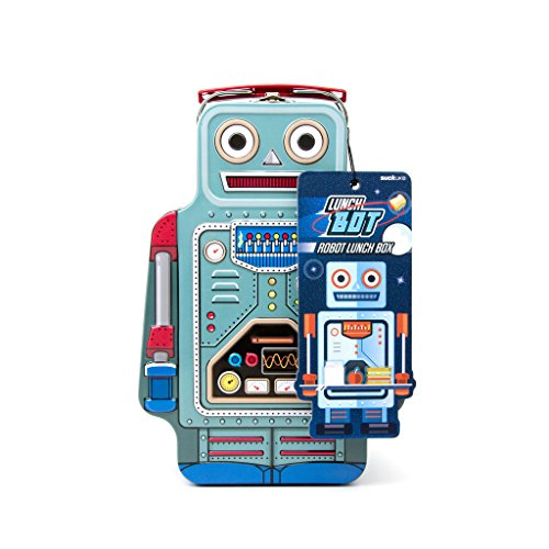 Suck UK SK LUNCHBOT1 Robot Lunch Box | TIN | Toy Storage | Bedroom Decor & Organization |, 9.6 x 3.3 x 6.4 in in, ()