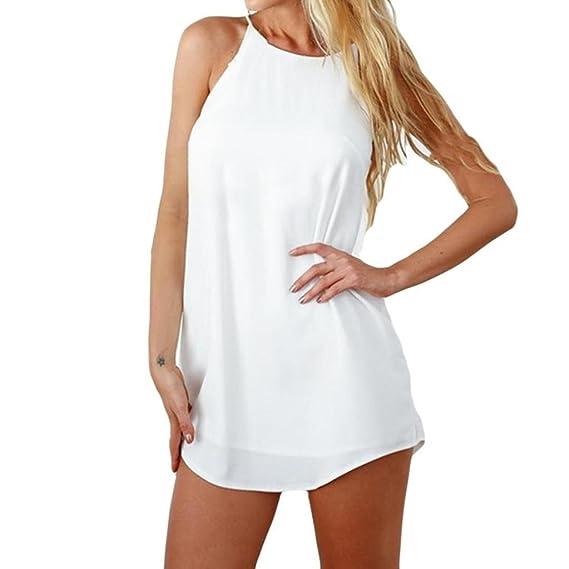 OHQ Vestidos Mujer Moda Sin Mangas Solid Print Casual Mini Beach Dress Blusa Falda Vestir Camisetas