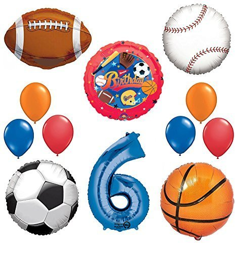 The Ultimate Sports Theme 6th Birthday Party Supplies and Balloon Decorating -