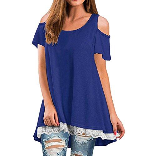 Clearance!! Women Shirt Dress Short Sleeve,Lelili Fashion Lace Patchwork Crewneck Pleat Swing Blouse Tops Sweatshirt (L, Blue (Christmas Shirt Top)
