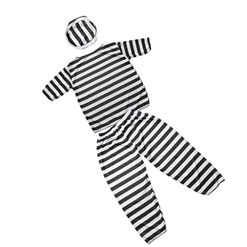 MagiDeal Prisoner Boy Constume Halloween Convict Jail Kid Striped Suit Fancy Dress - Halloween Constumes