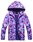 Kids Girl's Warm Fleece Lined Floral Winter Windproof Outdoor Hoodie Jacket Coat, Purple, US 4-5 Years (4t-5t) =Tag S