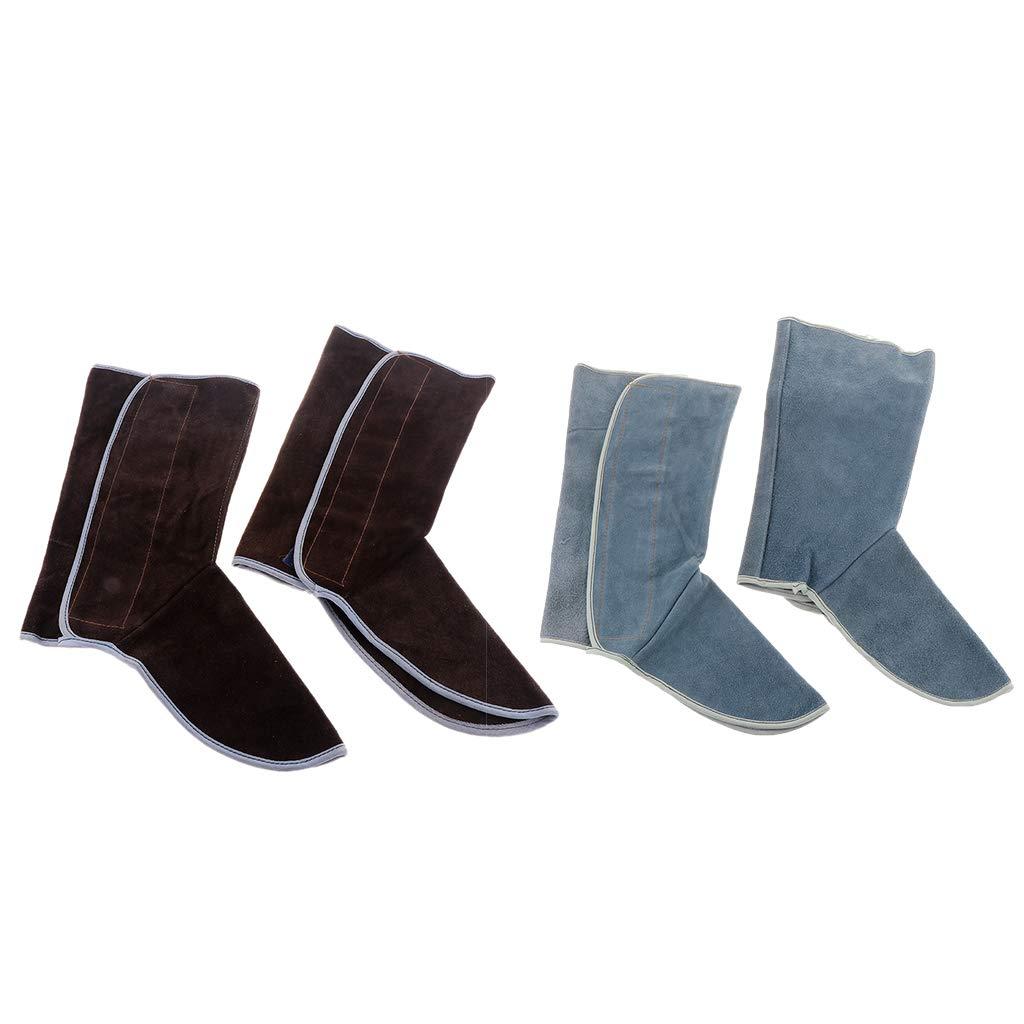 Baosity Heavy Duty Leather Welding Coat Work Apron XXL+ 1Pair Welding Foot Covers - Heat Resistant & Flame Resistant BBQ Apron, Adjustable, Brown by Baosity (Image #4)