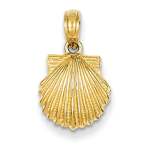 14K Yellow Gold Scallop Shell Charm (Scallop Shell Pendant)