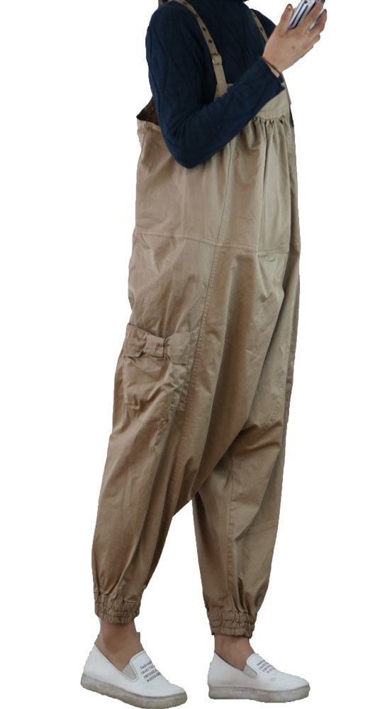 Gihuo Women's Loose Baggy Bib Overalls Jumpsuit Casual Hippie Drop Crotch Harem Rompers (Khaki, Free)