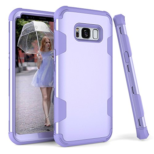 Galaxy S8 Case, SUMOON 3 in 1 [Unique design] [Full-Body Protective] [Shockproof]Hard PC+ Soft Silicon Rubber Armor Defender Protective Case Cover for Samsung Galaxy S8 (Purple)
