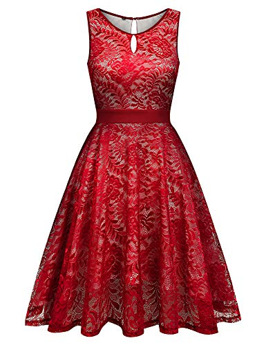URRU Women Floral Lace Bridesmaid Party Dress Short Prom Dress Red XXL