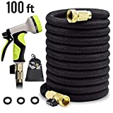 Expandable Garden Hose 100 ft Garden Hose 100 ft Garden Hose with Triple Layer Latex Core, 3/4' Solid Brass Fittings, 3750 D Extra Strength Fabric 9 Function Spray Nozzle for All Your Watering Need