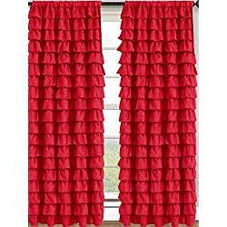 Watterfall Ruffled Fabric Window Curtain (Red)