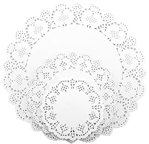 Useekoo 480 Pcs Round Paper Lace Doilies White Decorative Paper Pad for Cake Pastry and Cookies Assorted Sizes 4.5, 6.5 and 10.5 inches Doily Lace Ink Pad