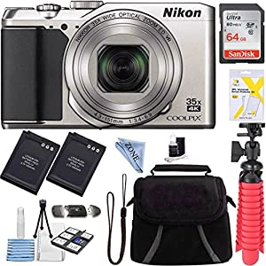 Nikon A900 20MP Longest Slim Zoom COOLPIX WiFi Digital Camera with 4K UHD Video 35x Telephoto NIKKOR Zoom Lens + 64GB Dual Battery Accessory Bundle (Silver) + Linen zone cloth by Linen Zone