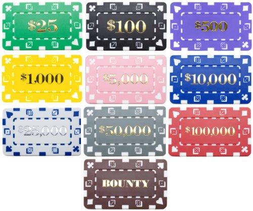 Set of 25 Denominated Rectangular Poker Chip Plaques - Choose Type!