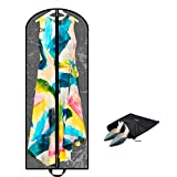 Luxury Clear Garment Bag Cover For Multiple Clothes | 60 Inch + 5'' Gusset | Travel & Closet Storage | Long Women Dress, Wedding Gown, Coat, Fur, Mens Suit | Hanging, Breathable, Moth Proof, Foldable