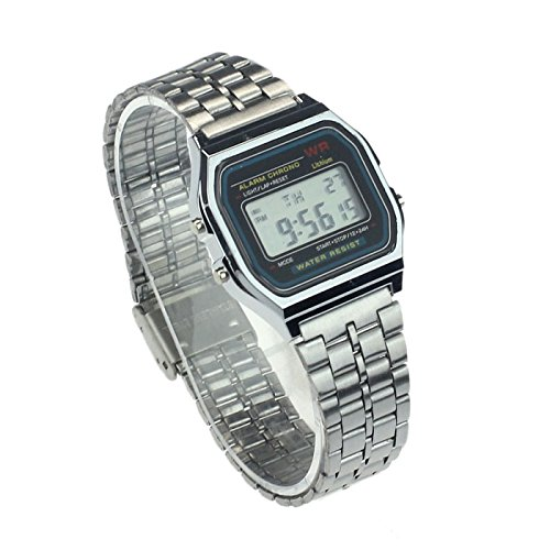 Women's Watch,LtrottedJ Vintage Womens Men Stainless Steel Digital Alarm Stopwatch Wrist Watch (A) ()