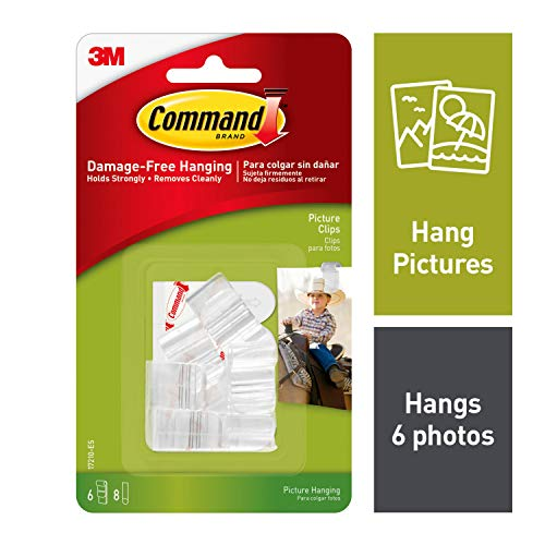 Command Clear Picture Clips, Decorate Damage-Free, Indoor Use, 6 clips, 8 strips (17210-ES)