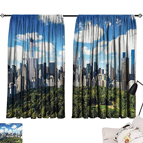 SEMZUXCVO Polyester Curtain NYC Decor Collection Central Park View to Manhattan at Sunny Day Skyline Clouds Crowded City Cityscape Bedroom Balcony Living Room W55 x L63 Green Blue White (With Nyc Balcony Hotel)