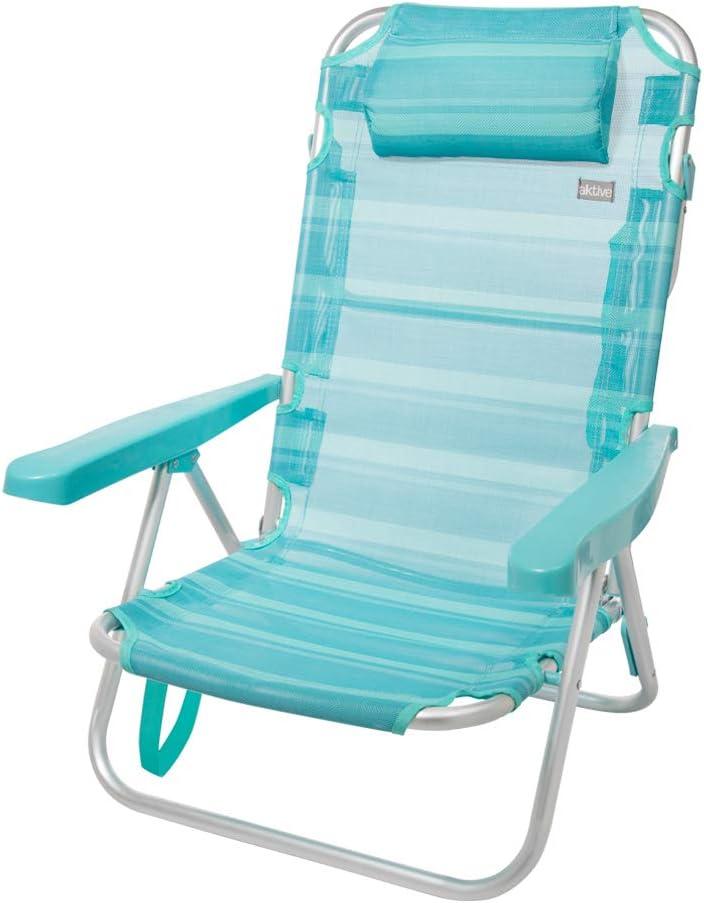 Aktive 53963 Silla multiposición aluminio Beach, 108 x 60 x 82 cm Azul mediterráneo