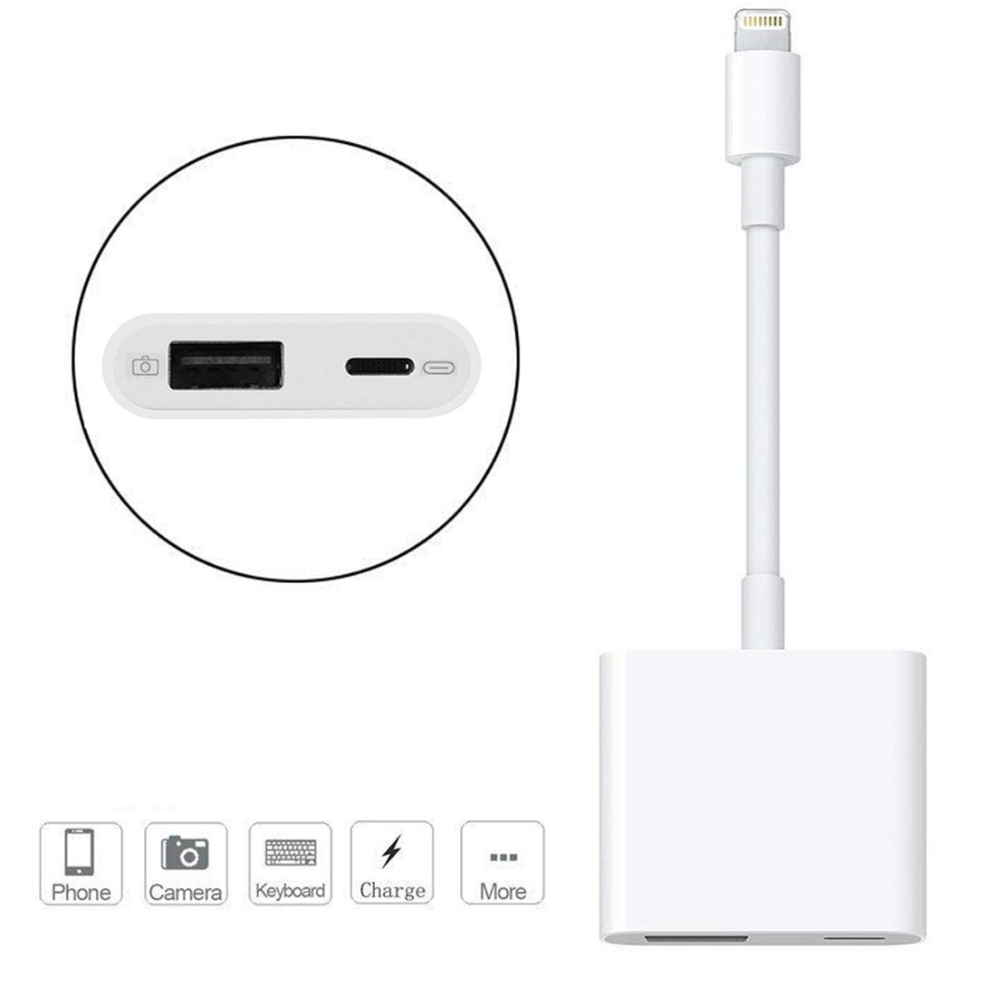 Lightning to USB Camera Adapter, Lightning to USB 3.0 Female OTG Adapter Cable With Charging Interface for iPhone/iPad,No App Required, Supporting card readers, Keyboard and audio/midi interfaces