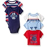 Tommy Hilfiger Baby Boys' Short Sleeved Striped and Solid Bodysuits, Red/Blue, 0-3 Months (Pack of 5)