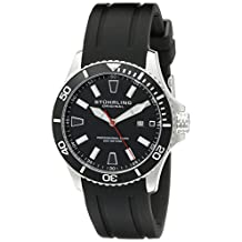 Stuhrling Original Men's 706.01 Aquadiver Regatta Diver Sport II Swiss Quartz Date Black Rubber Strap Watch