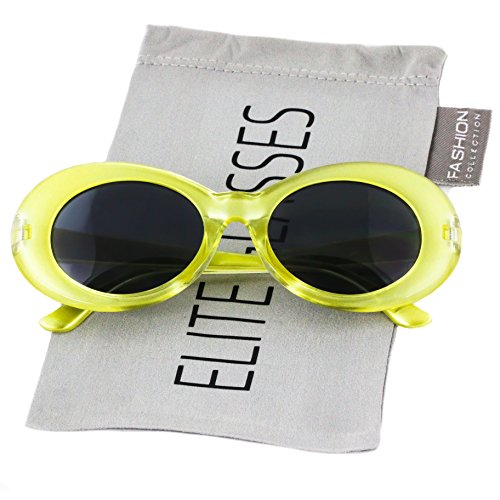 Clout Goggles Oval Hypebeast Eyewear Supreme Glasses Cool Sunglasses (Transparent Yellow, 51)