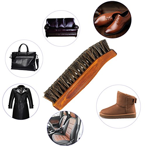 Horsehair Shoe Brush Set Multifunctional Shoe Cleaning and Shine Brush Kit for Leather Shoes, Suede and Nubuck Shoes, Car Seat or Leather Furniture by XITANGOU (Image #2)