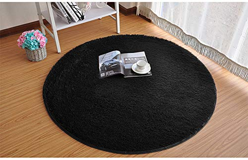 SANMU Soft Round Rug,Fluffy Silky Carpet Fashion Color Smooth Bedroom Mats Round Shag Floor Pad for Girls Bedroom Decorate and Indoor Use,4 Feet,Black by Softlife (Image #2)