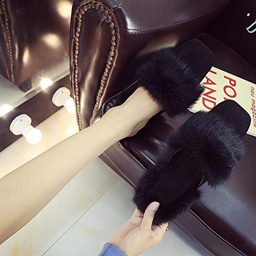 Pantoufles Femmes Noir Tacon Delta Sandales Fausse Magnum Fourrure Pour On Hiver t Tongs Alikeey Chaud Slip Fluffy Haute XqUU5