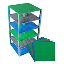"Premium Blue, Green, and Gray Stackable Base Plates - 6 Pack 10"" x 10"" Baseplate Bundle with 50 New and Improved 2 X 2 Stackers - Compatible with All Major Brands"