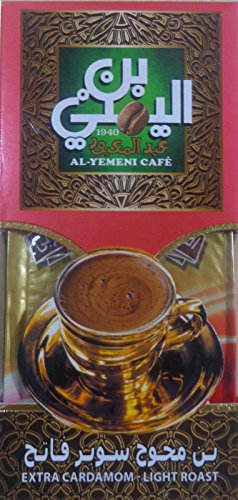 EL-YEMENI Original Turkish Coffee Cafe Arabic Arabian Arabica Ground Roasted Mud Coffee (Plus Cardamom Coffee Light Roast (Extra Cardamom -Light Roast 1000Gm) (Extra Cardamom -Light Roast 200Gm)