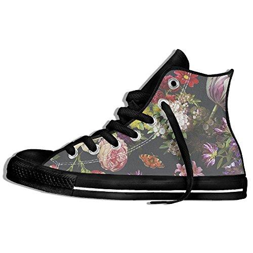 8388ca66be5e4 Baskets Montantes Classiques Toile Chaussures Anti-dérapant Multicolore  Floral Décontracté Marche Pour Hommes Femmes Noir