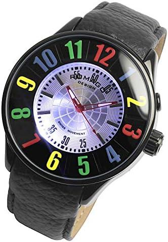 [ロマゴ]ROMAGO 腕時計 ウォッチ ミラー文字盤 ファッション カジュアル レザー ブラック メンズ レディース [並行輸入品]