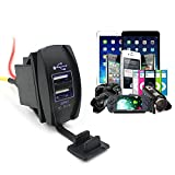 Chinatera Motorcycle Car Dual USB Charger 3.1A 12-24V Adapter Socket Power Outlet LED