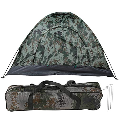 Vbestlife. Camping Tent Camouflage Portable 3-4 Person Single Layer Shelter Tent Easily Installation for Outdoor Backpacking Picnic Beach Hiking Travel Climbing