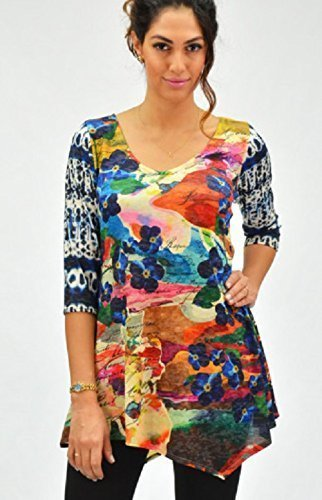 Lucinda printed women's 3/4 sleeve tunic by Amma Design