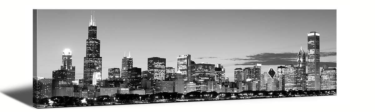 """JiazuGo-Black & White Panoramic Chicago 2 Skyline Modern Art Work Cityscape Pictures Paintings on Canvas Wall Art Wall Pictures for Bedroom Art Home Decorations Office Decor Ready to Hang 14""""x48"""""""