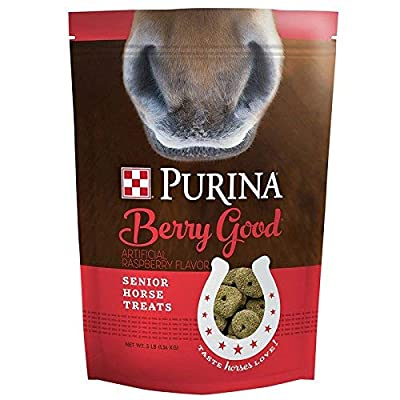 Purina | Berry Good - Rasberry Flavored Senior Horse Treats | Added Biotin for Hoof Health -3 Pound (3 lb) Bag