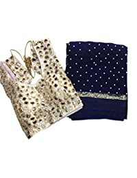 Shoppingover Blue Saree with Readymade Blouses and Petticoat for Women
