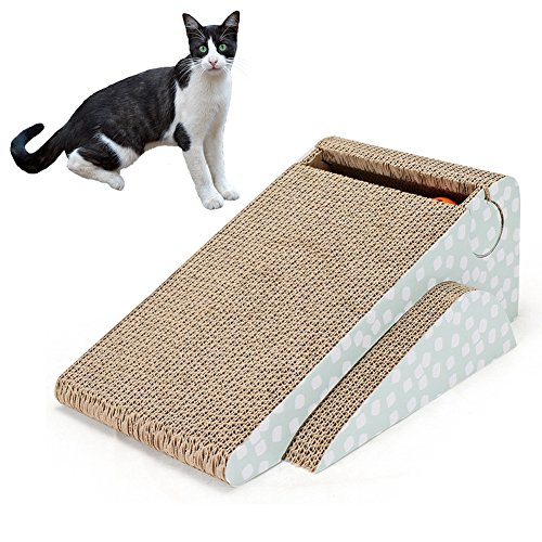 - PetEnjoy Cat Scratching Post Kitty Scratch Pad Pet Scratcher Cardboard Lounge Bed Puppy Dog Toys with Cat Bell (Triangle)