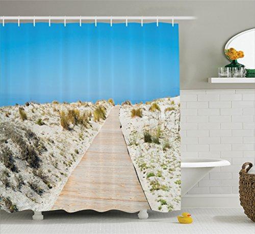 Footpath On Le Dune Beach In South Of Sardinia Island Italian Style Peaceful Calm Hours Polyester Fabric Bathroom Shower Curtain 84 Inches Extra Long