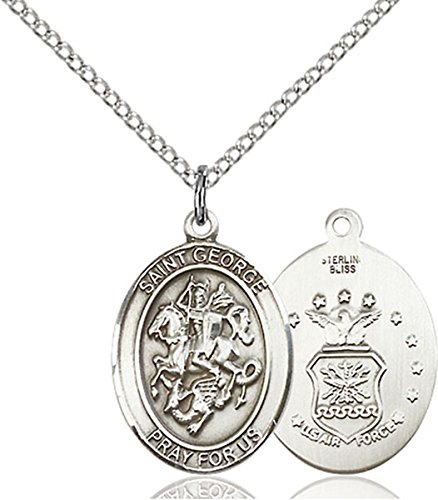 Sterling Silver Saint George Air Force Medal Pendant, 3/4 -