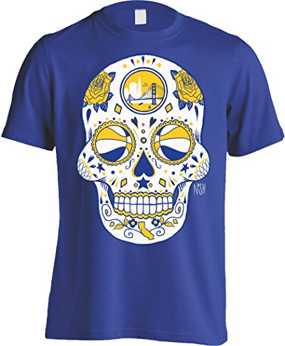 America's Finest Apparel Golden State Sugar Skull Men's Shirt (XL, Royal Blue) America Sugar
