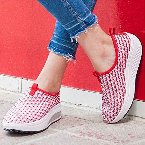 FangYOU1314 Mujer Caminata Rojo Zapatos de 40 Zapatos Malla EU Rojo de Color de Huecos tamaño Transpirable qaxFawrZI8