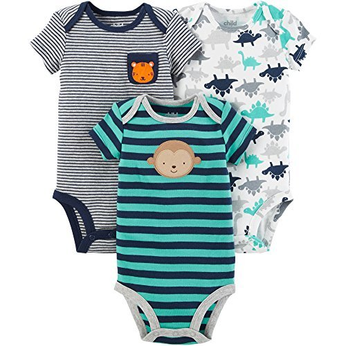 Carter's Child of Mine Baby Boys 3 Pack Bodysuit Set (3-6 Months, Navy Multi Pack)